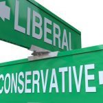Liberal and Conservative road sign