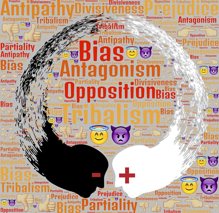 word cloud for bias, antagonism, opposition, and tribalism