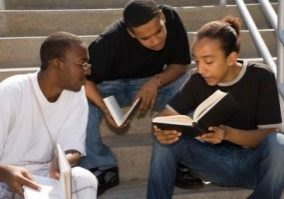 black kid studying